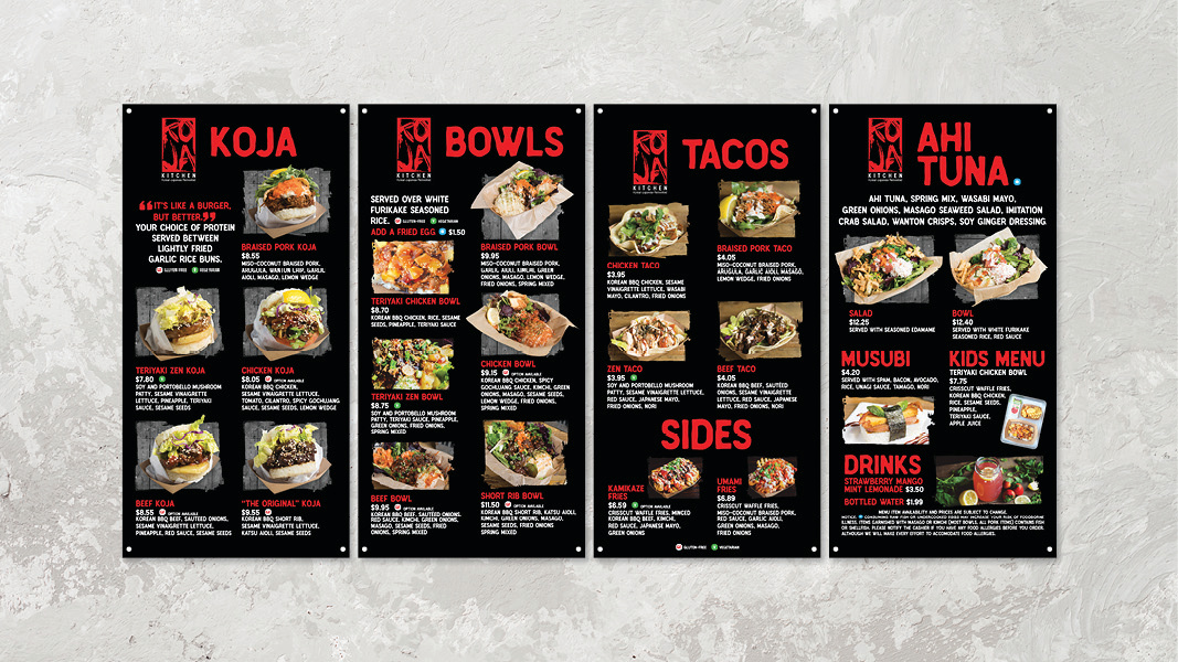 KoJa's food truck menu boards on a white background.