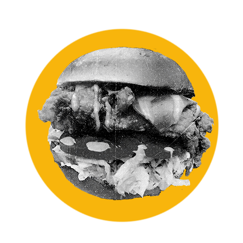 A yellow circle with a black and white burger inside it.