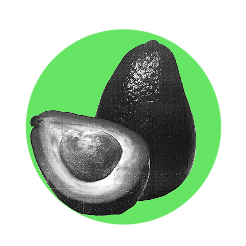 A green circle with a black and white Avocado inside it.