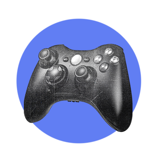 A blue circle with a black and white video game controller inside it.