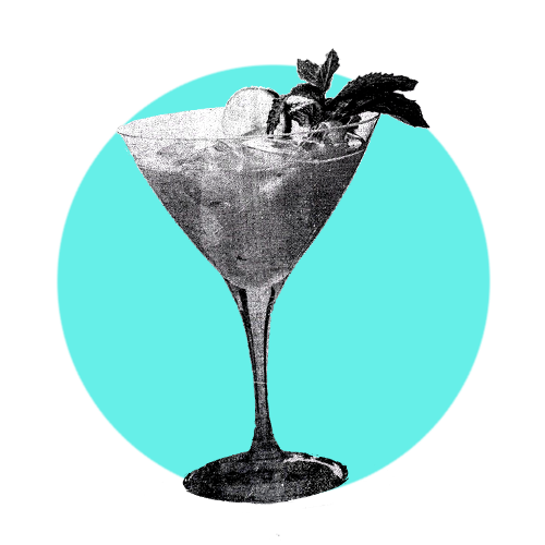 A aqua circle with a black and white cocktail glass inside of it.