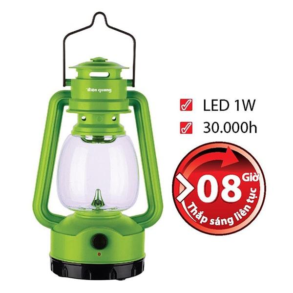Đèn sạc LED Điện Quang PRL05 AG có khả năng chiếu sáng liên tục lên tới 8 giờ đồng hồ