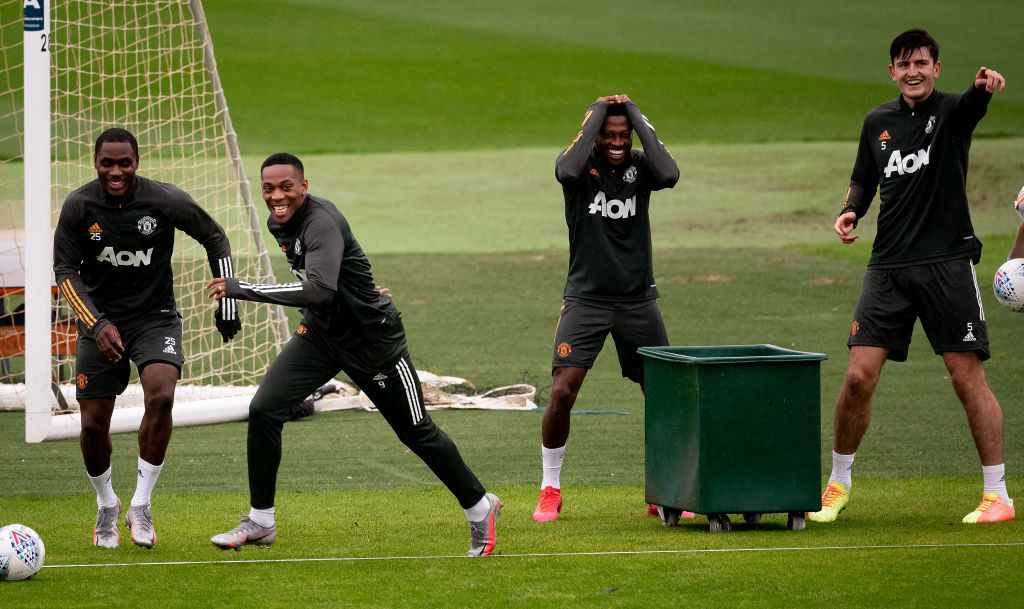 United team trains in new training kit, Martial smiles