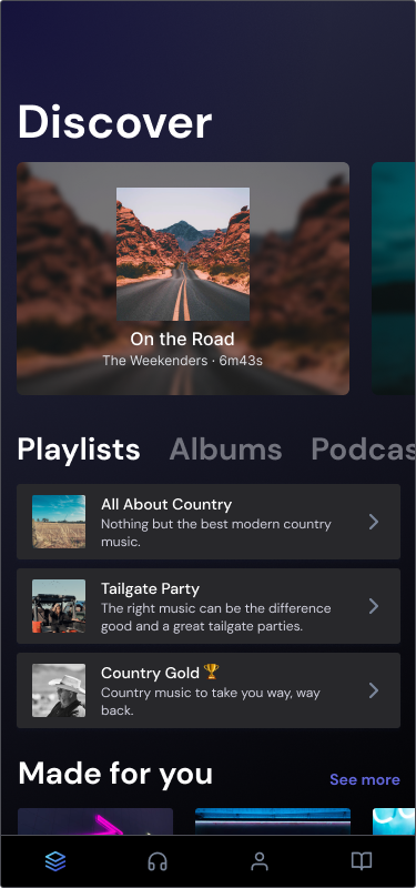 Mobile app for music playlists built with Layers Design System for Figma