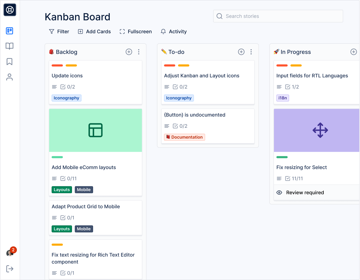 Kanban board website built with Layers Design System for Figma