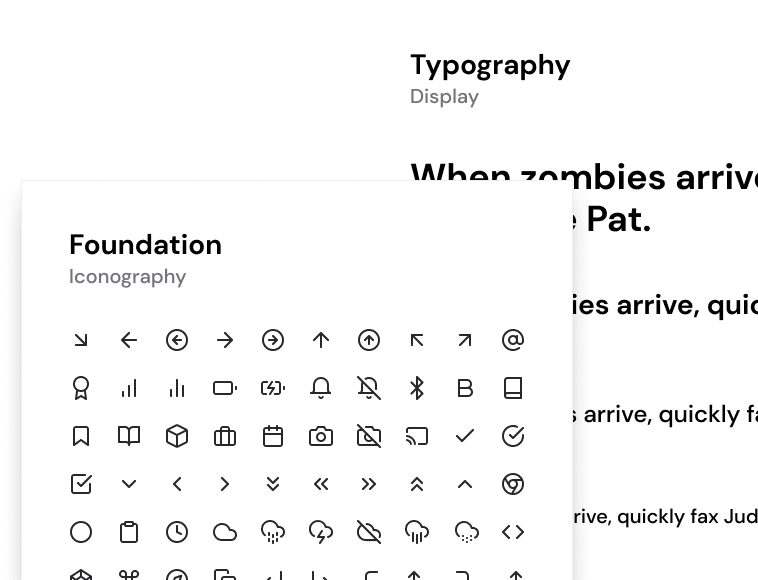 Iconography and typography included in the Layers Design System for Figma
