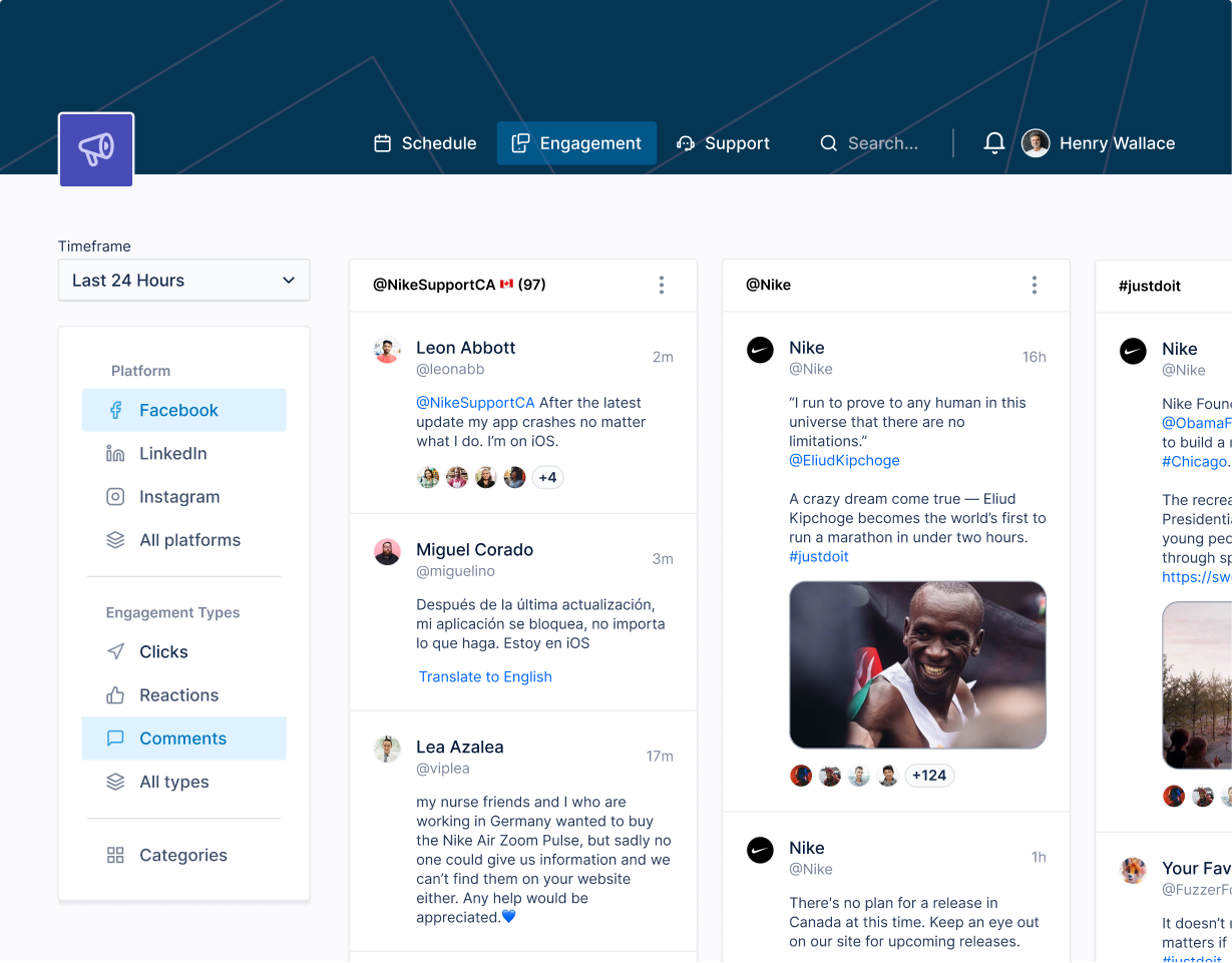 Social media tracking website built with Layers Design System for Figma