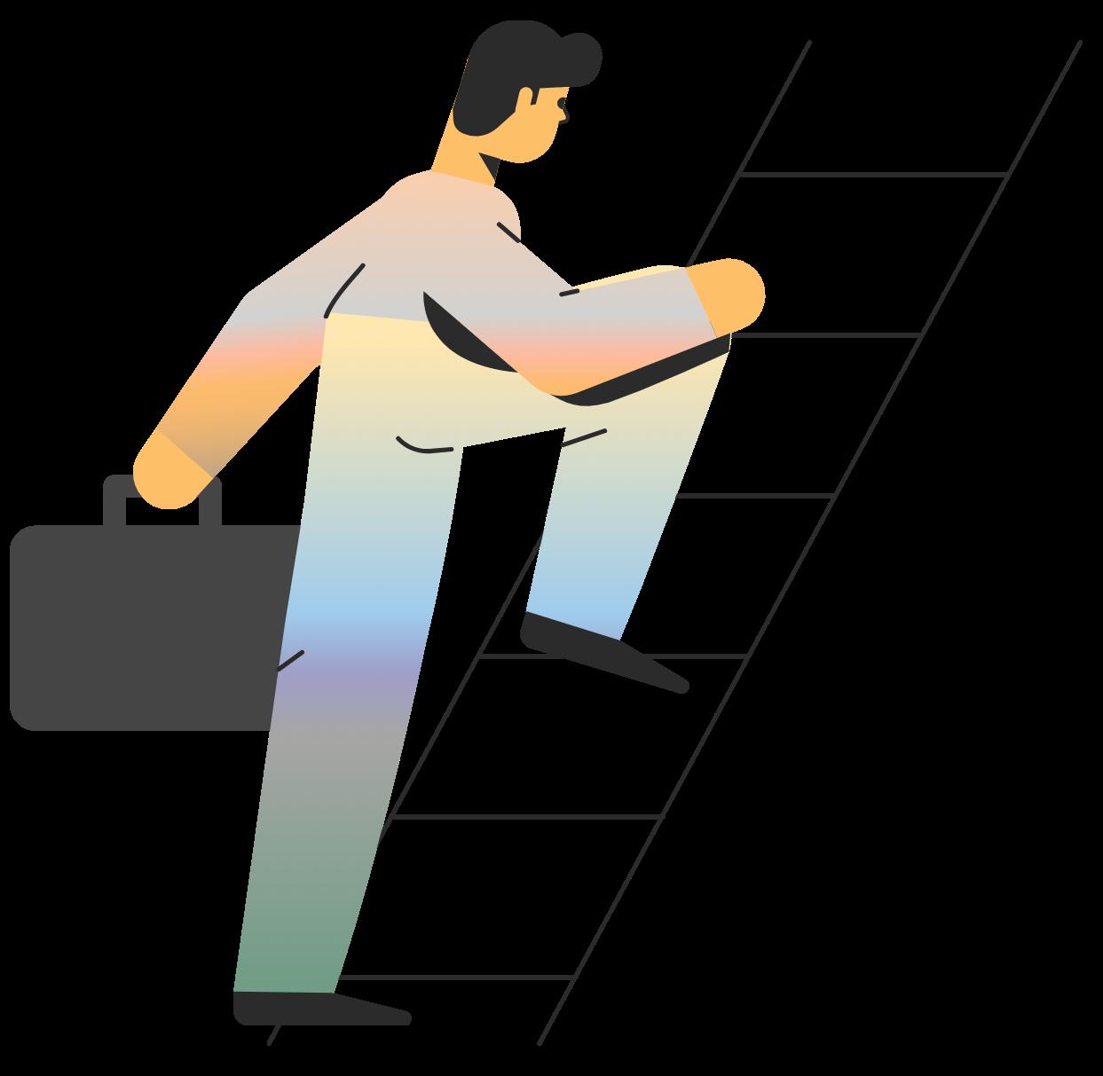 Man climbing ladder