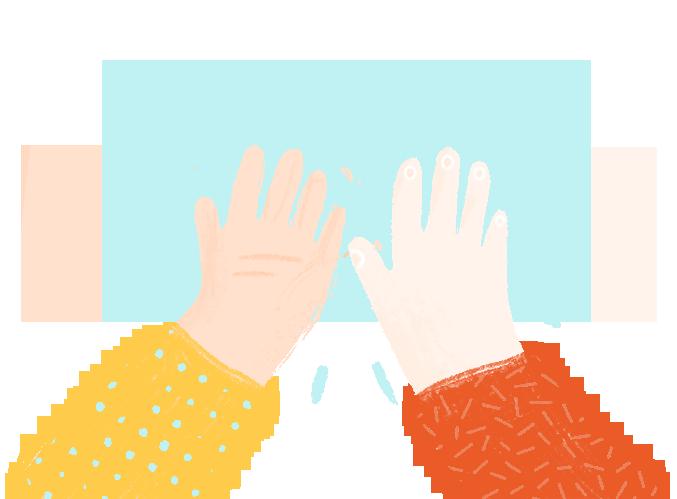 Ilustracja przedstawiająca ręce dzieci zbijające piątkę.