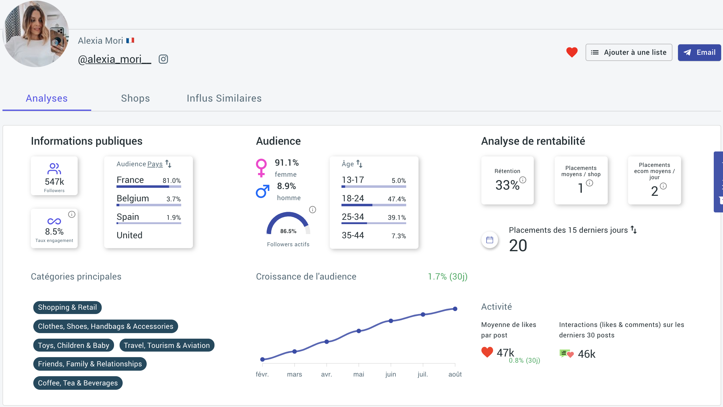Influspy Screenshot App Influencer marketing
