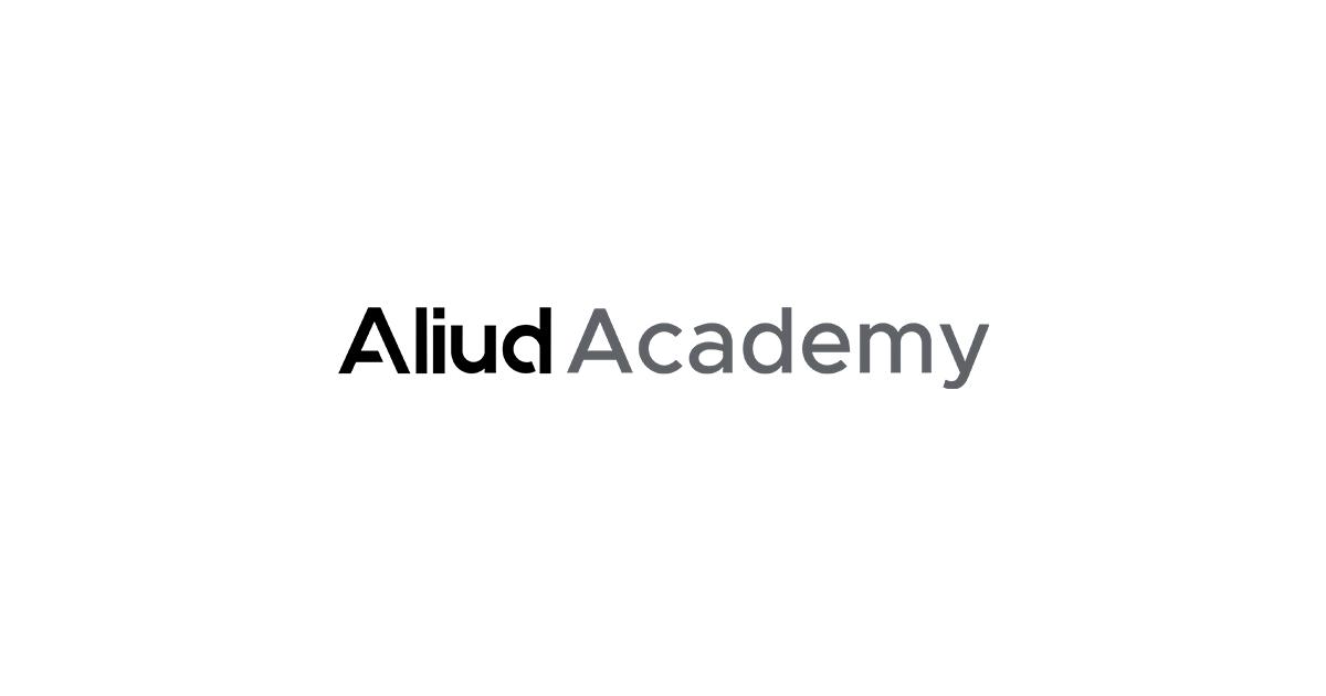 Aliud Academy logo with white background.