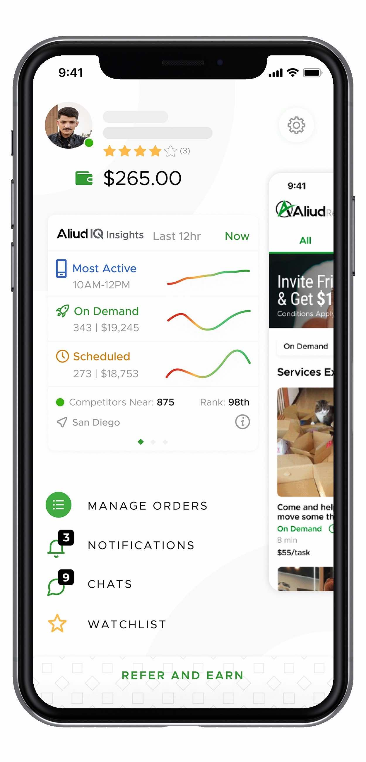 Aliud Seller App dashboard to control your small business.