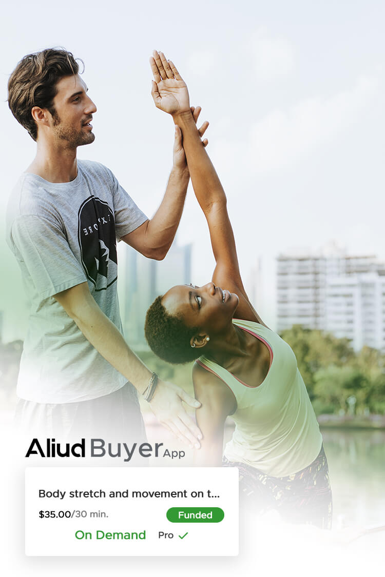 Aliud Seller helping Aliud buyer stretch during an Aliud on demand Marketplace order for local services and products