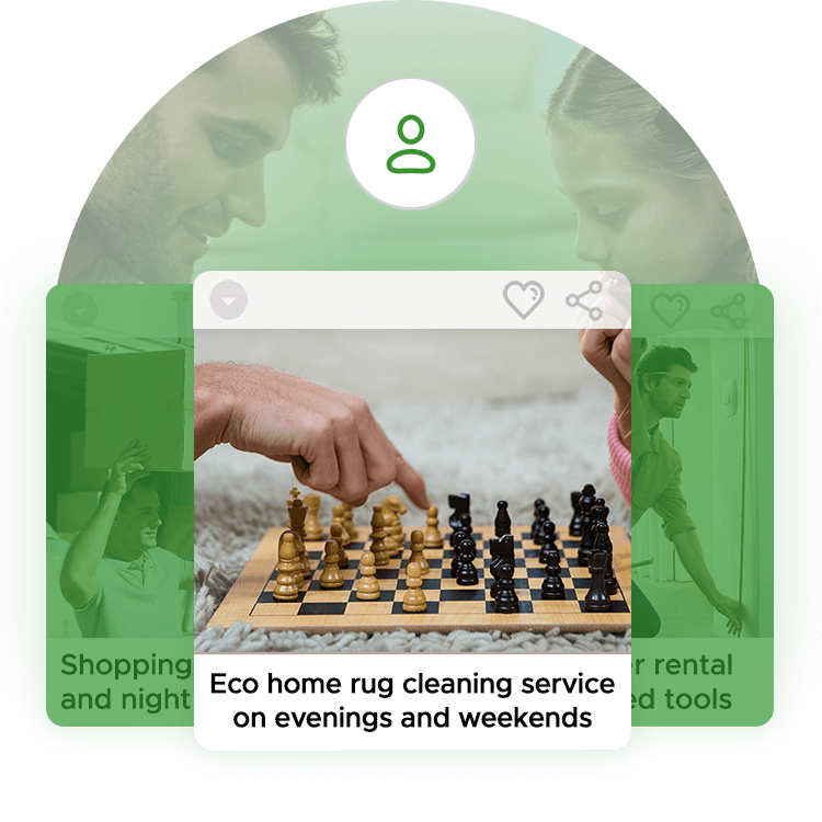 Browse services on aliud marketplace by swiping left and right