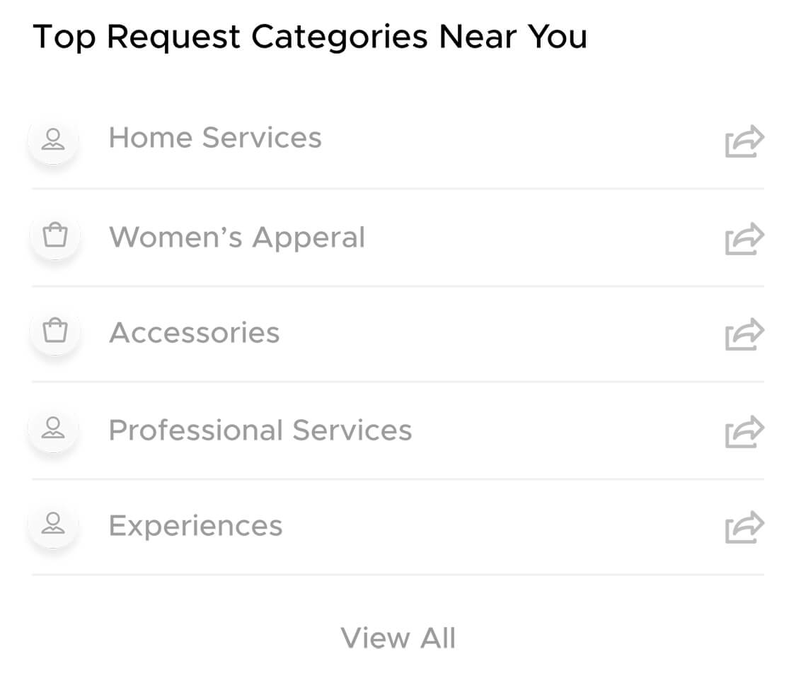 Top service and product categories on Aliud Buyer and Seller Apps.