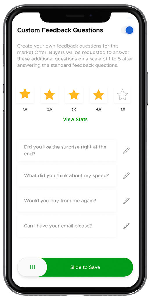 Aliud Seller lets you ask custom feedback questions.