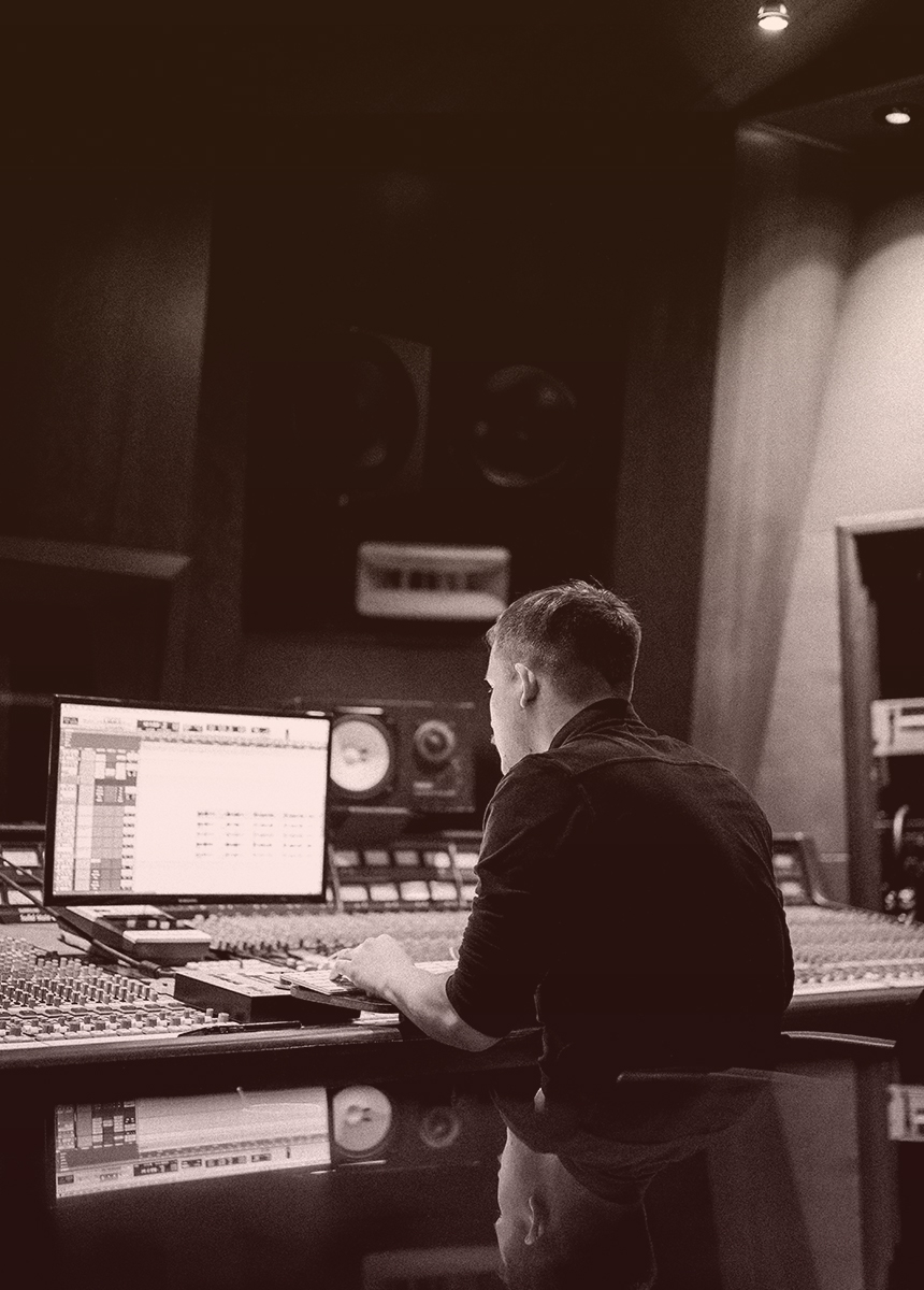 Sound producer in studio