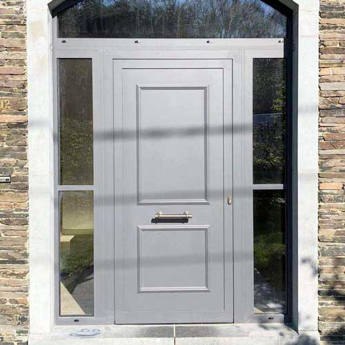 Porte entrée aluminium grise