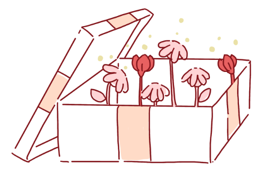An illustration of an open gift box and flowers sprouting out of it.