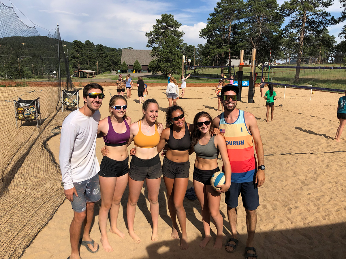 group volleyball training session
