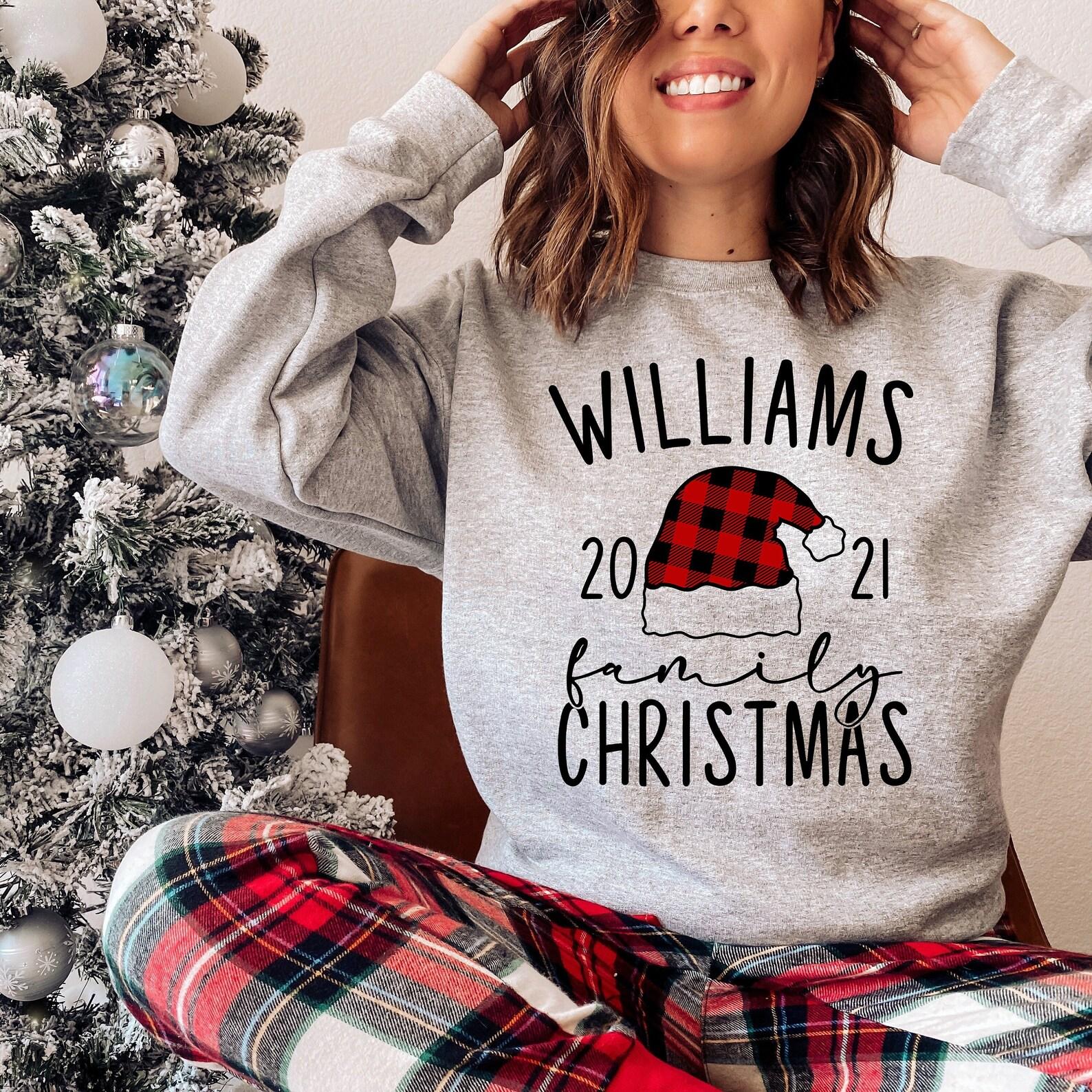 Buffalo Plaid Christmas Sweatshirt   Santa Hat   Custom Family Name  Sweatshirts For The Family   Christmas Eve Pajamas PJs   Unisex Crewneck Sweatshirt