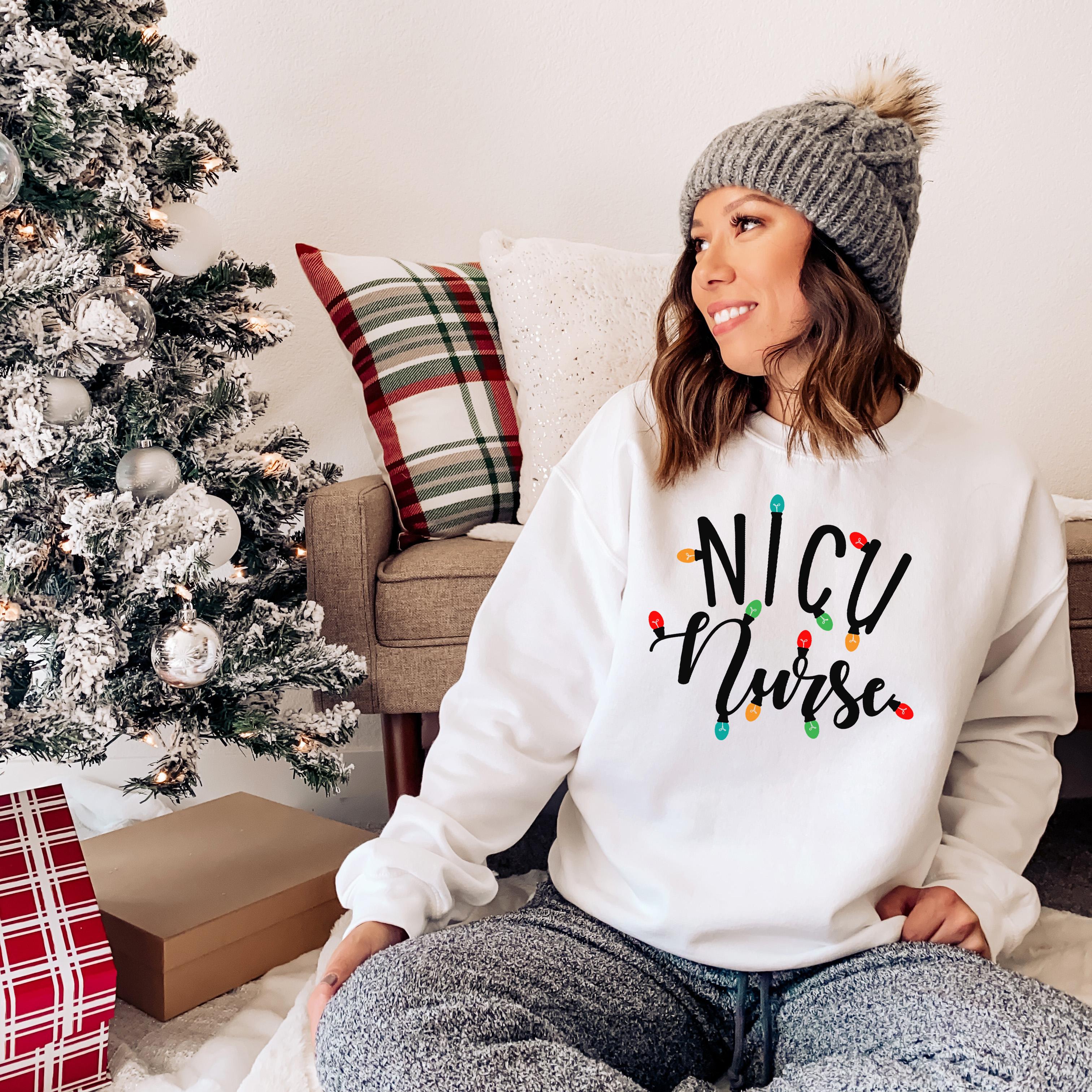 NICU Nurse   Christmas Lights   RN, CNA, Lpn   Neonatal Intensive Care Nurse   Christmas Gifts For Nurses   Unisex Crewneck Sweatshirt