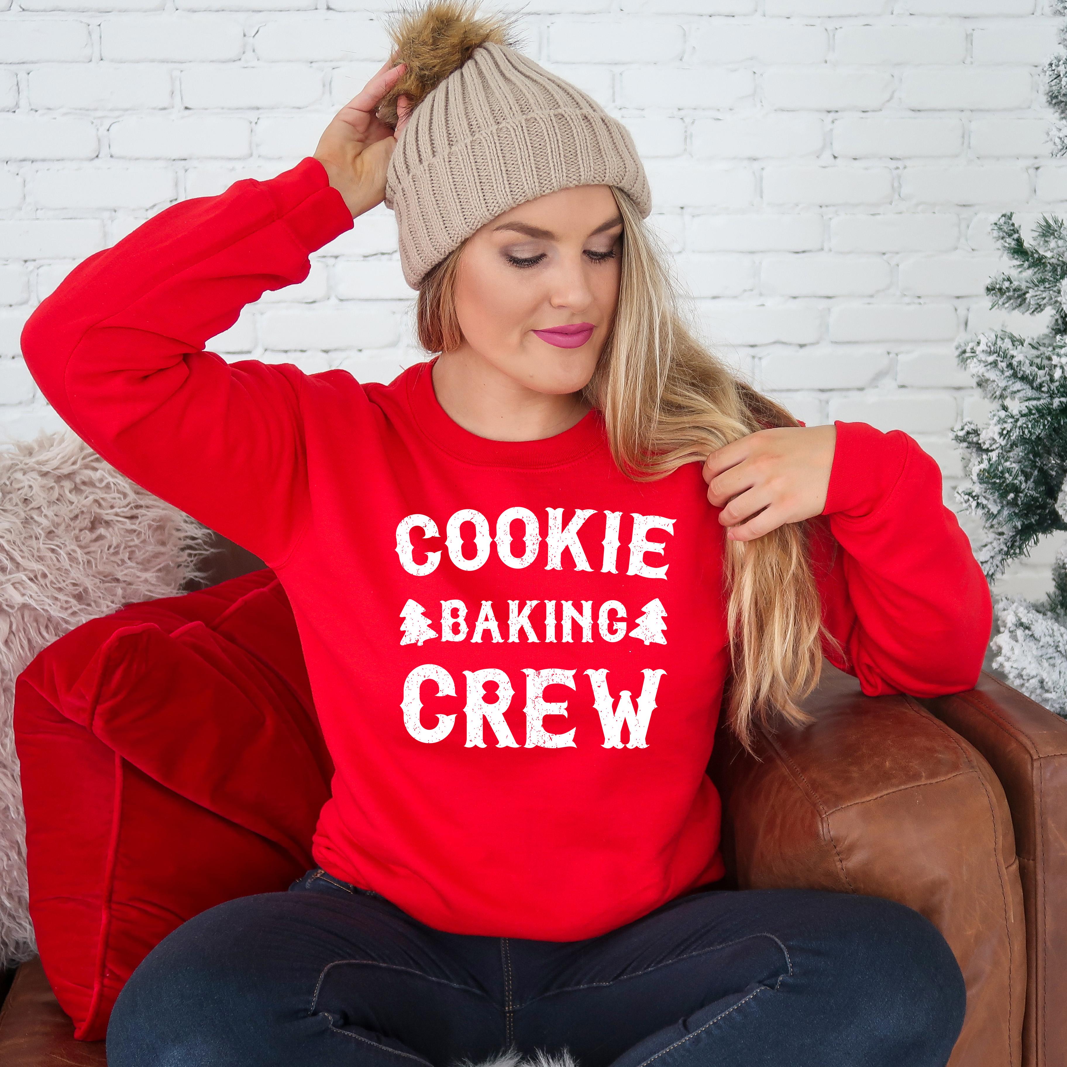 Cookie Baking Crew Sweatshirt   Christmas Tree Cookies   Holiday Baking Gifts   Christmas Matching Family   Unisex Crewneck Sweatshirt