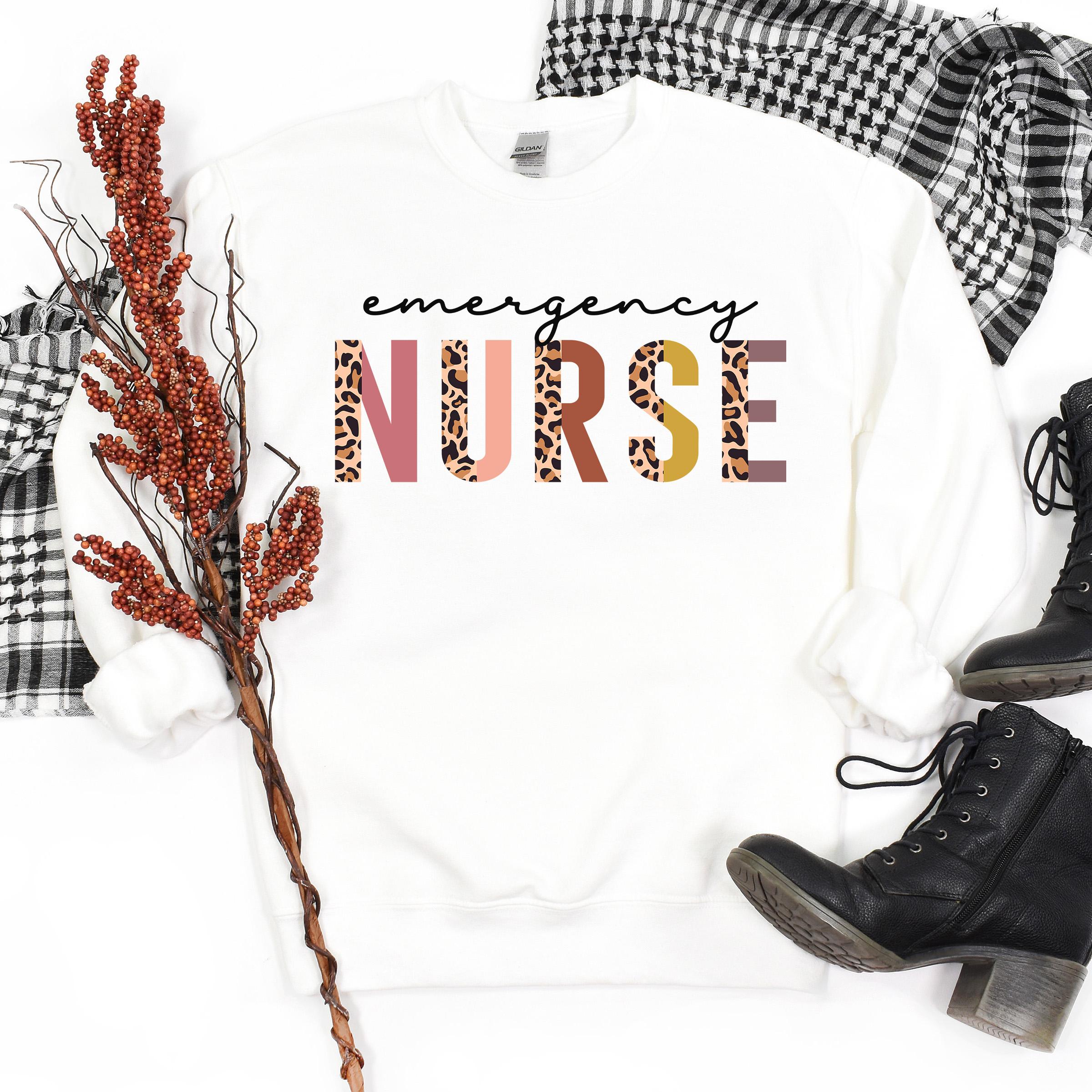 Emergency Nurse Gift   Leopard Print   ER Emergency Room   ED Nurse Sweatshirt   Nursing Student Graduation   Unisex Crewneck Sweatshirt