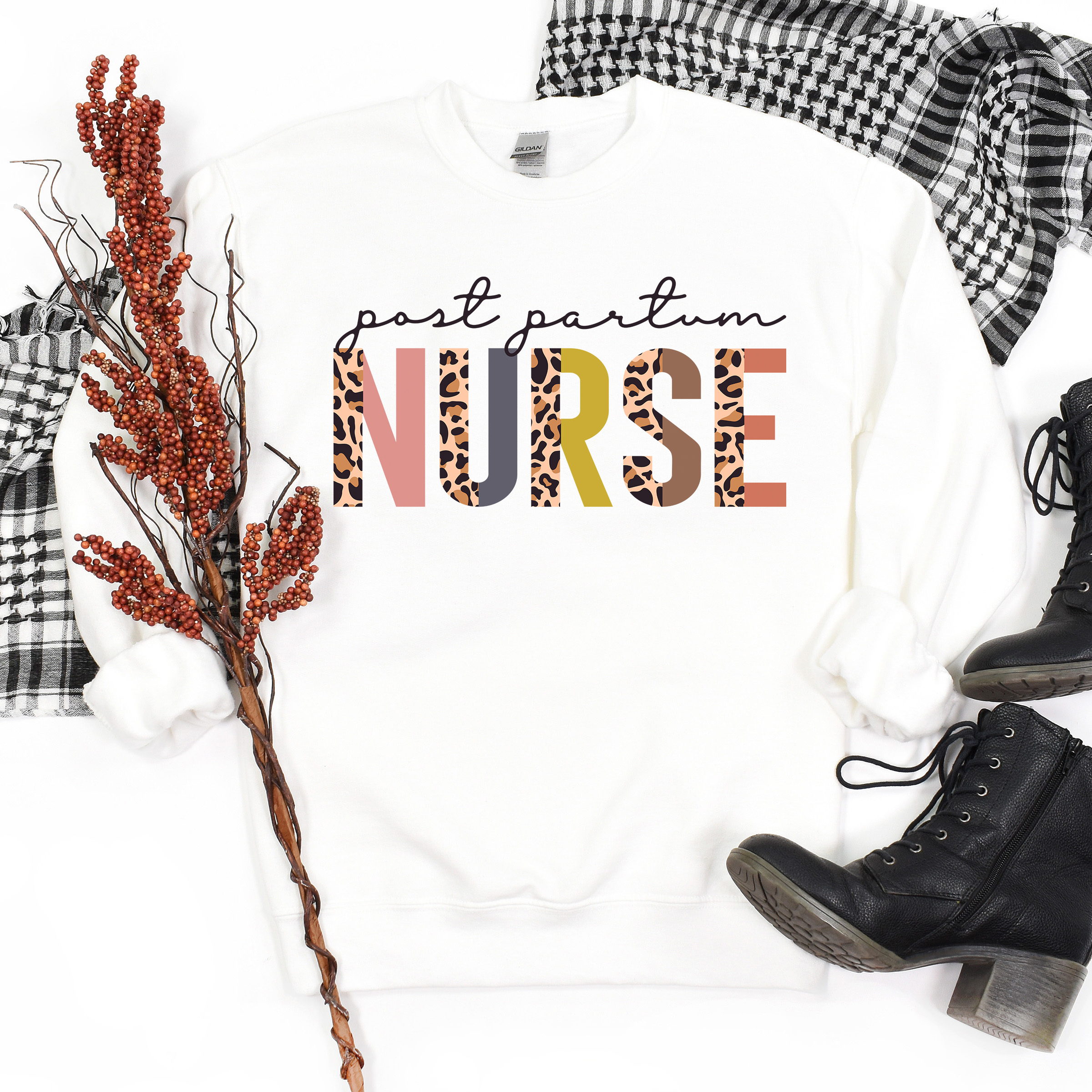 Post Partum Nurse Gift   Leopard Print   After Birth Care   Postpartum Nurse Sweatshirt   Nursing Student   Unisex Crewneck Sweatshirt