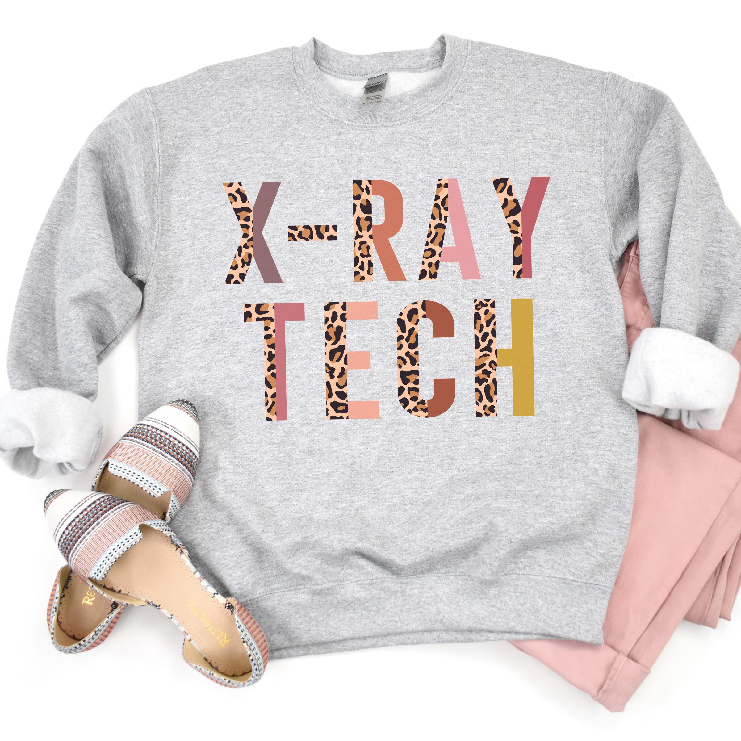 Xray Tech   Leopard Print Sweatshirt   Xray Technologist   Xray Technician  Medical Imaging   Medical Radiation   Unisex Crewneck Sweatshirt