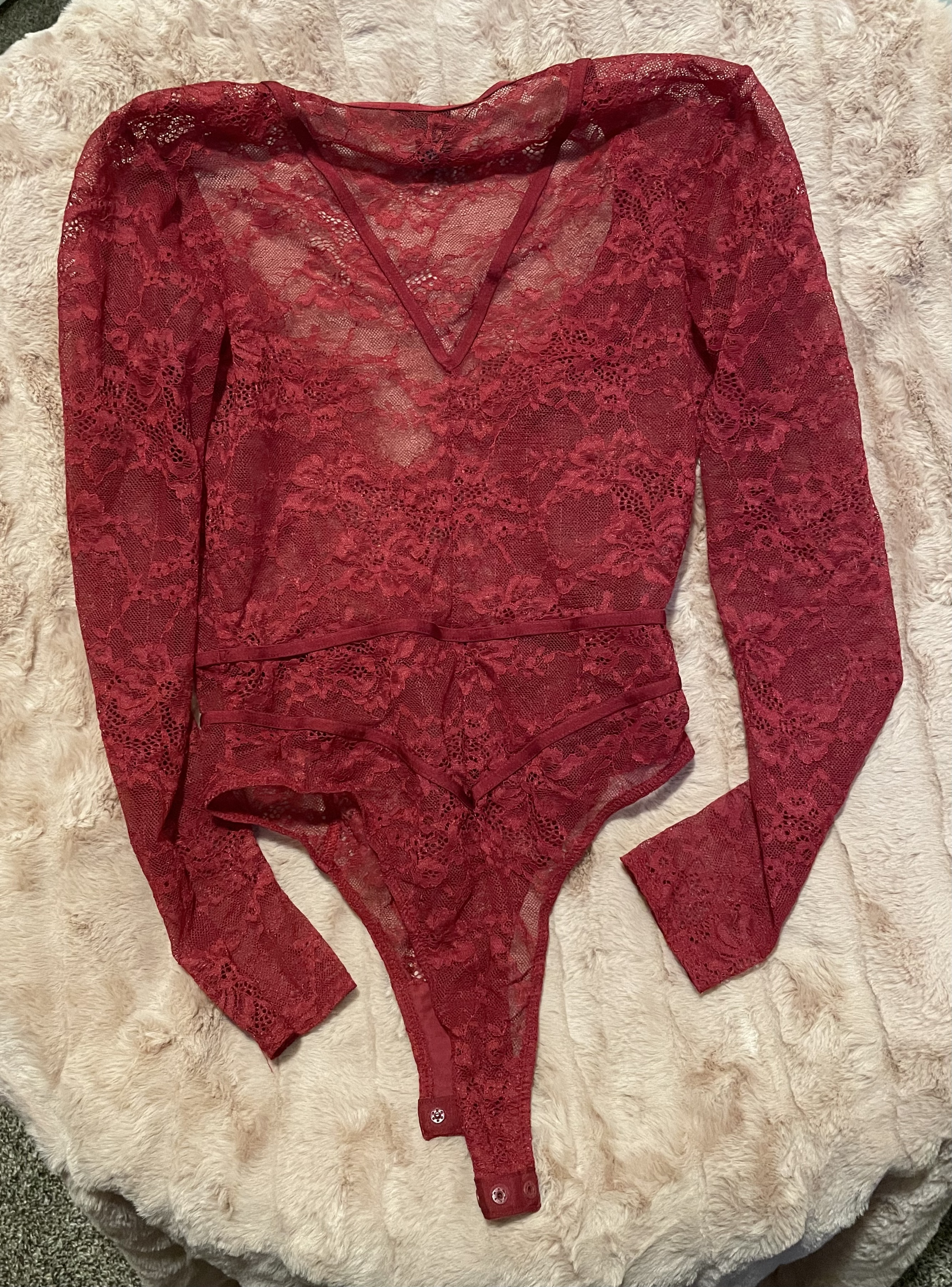 Victorias Secret   VS Lingerie Lace Bodysuit Onesie   Buttons At Bottom   Revealing V Neck   See Through Sheer Lace   Women's Small