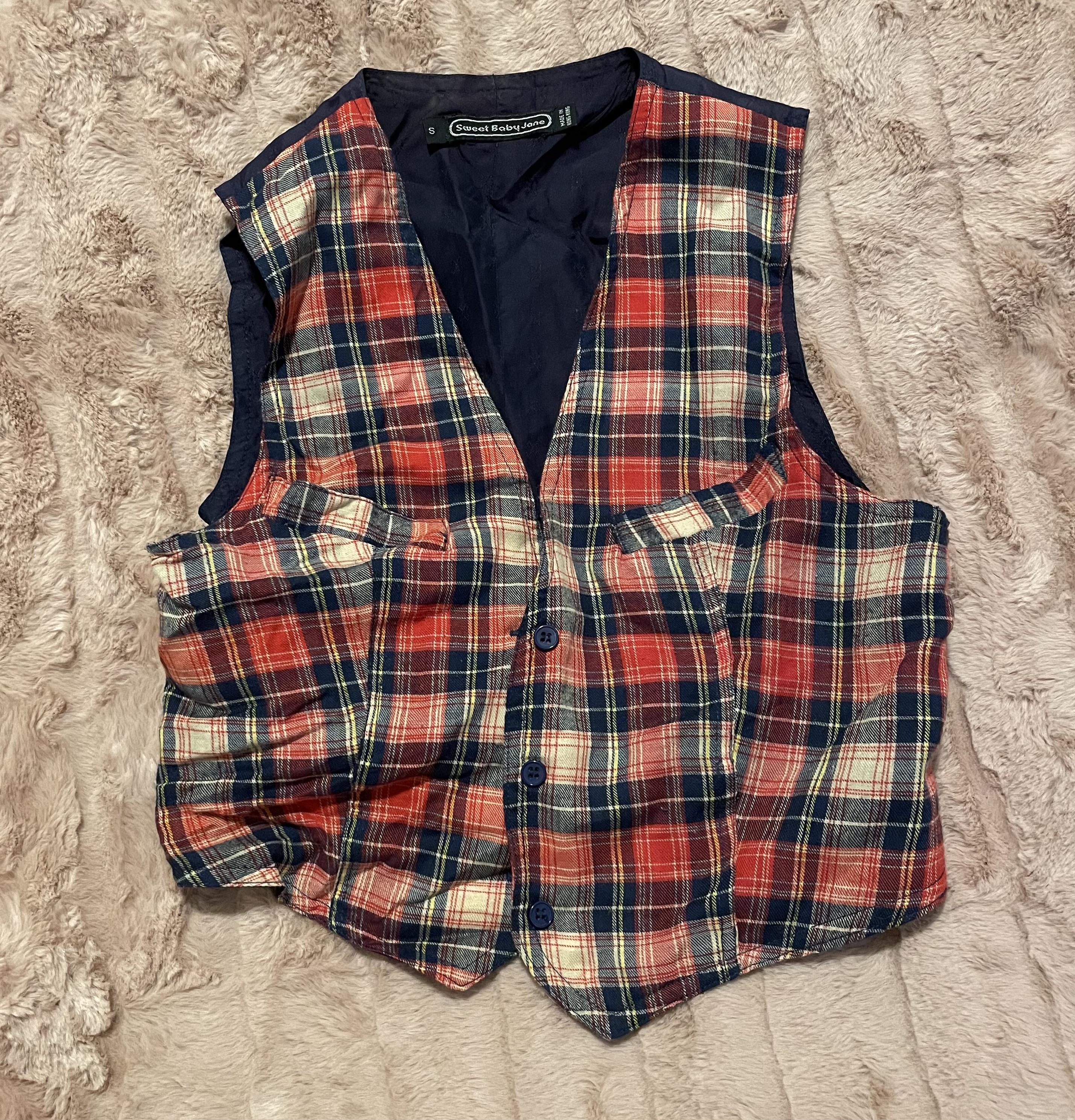 Sweet Baby Jane   Vintage 70's Style Plaid Tartan Adjustable Vest   Retro 1970s   Juniors Small