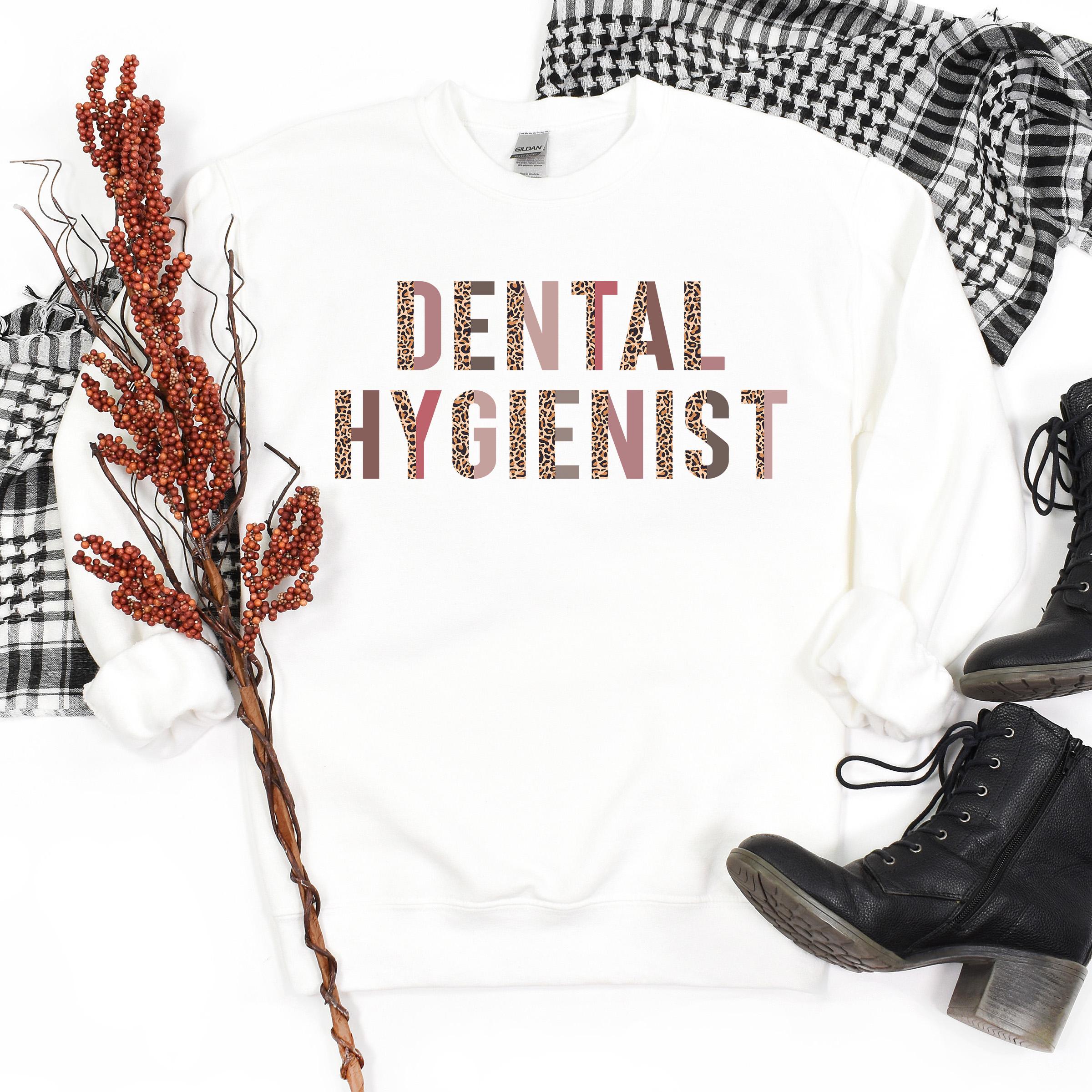 Dental Hygienist Gift   Leopard Print Sweatshirt   RDH   DH   Dental Hygiene School Student   Oral Health   Unisex Crewneck Sweatshirt