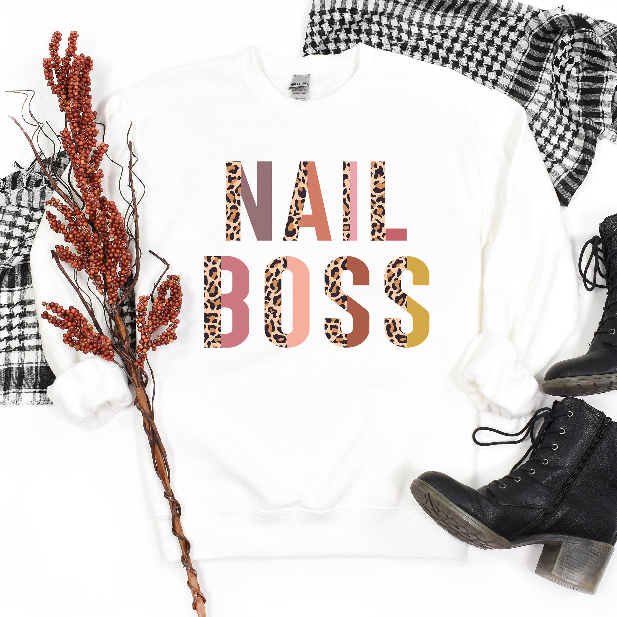Nail Boss Sweatshirt   Nail Technician   Cosmetologist   Nail Tech Gifts   Nail Queen   Manicure   Pedicure   Unisex Crewneck Sweatshirt