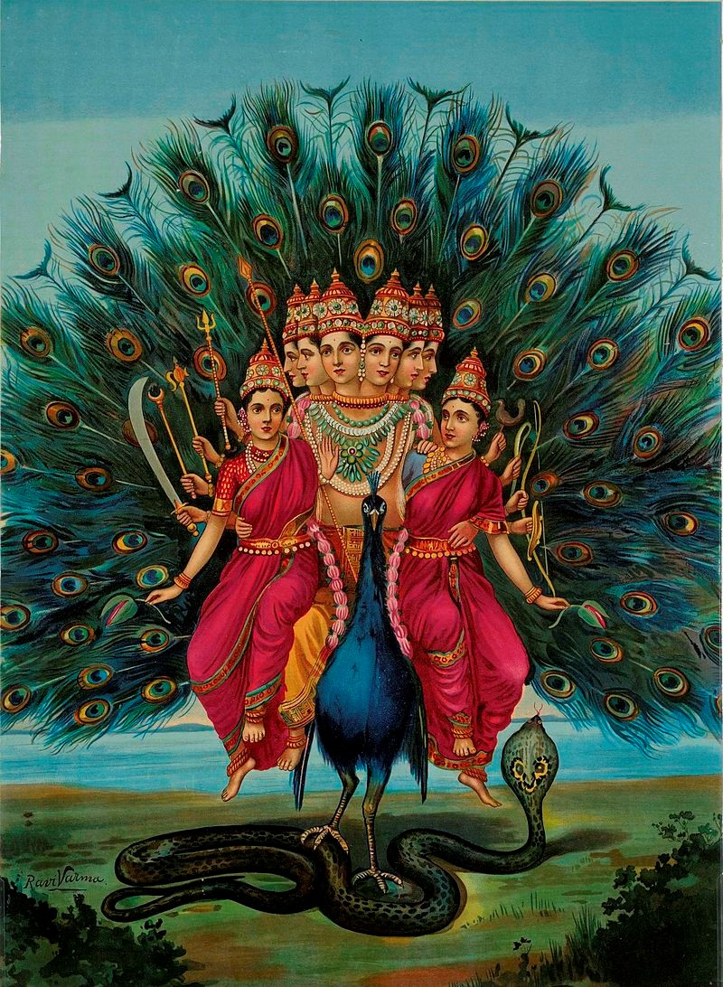 Hindu deity Karttikeya or Murugan with his consorts on his Vahana peacock.