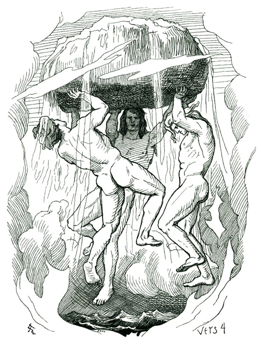 A depiction of the creation of the world by Odin, Vili and Vé