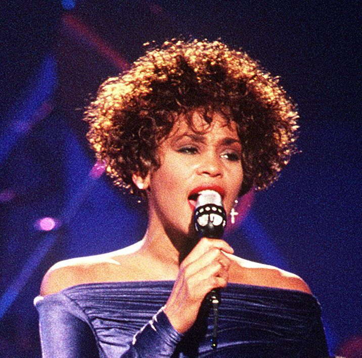 "Whitney Houston performing ""Greatest Love of All"" during the HBO-televised concert ""Welcome Home Heroes with Whitney Houston"" honoring the troops, who took part in Operation Desert Storm, their families, and military and government dignitaries."