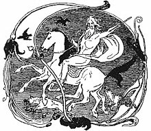 Here, Odin can be seen riding on Sleipnir. While wolves and ravens roam around