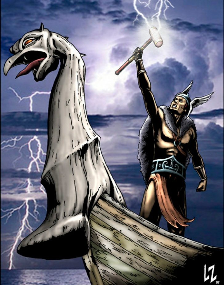 An illustration of Thor's display of Thunder