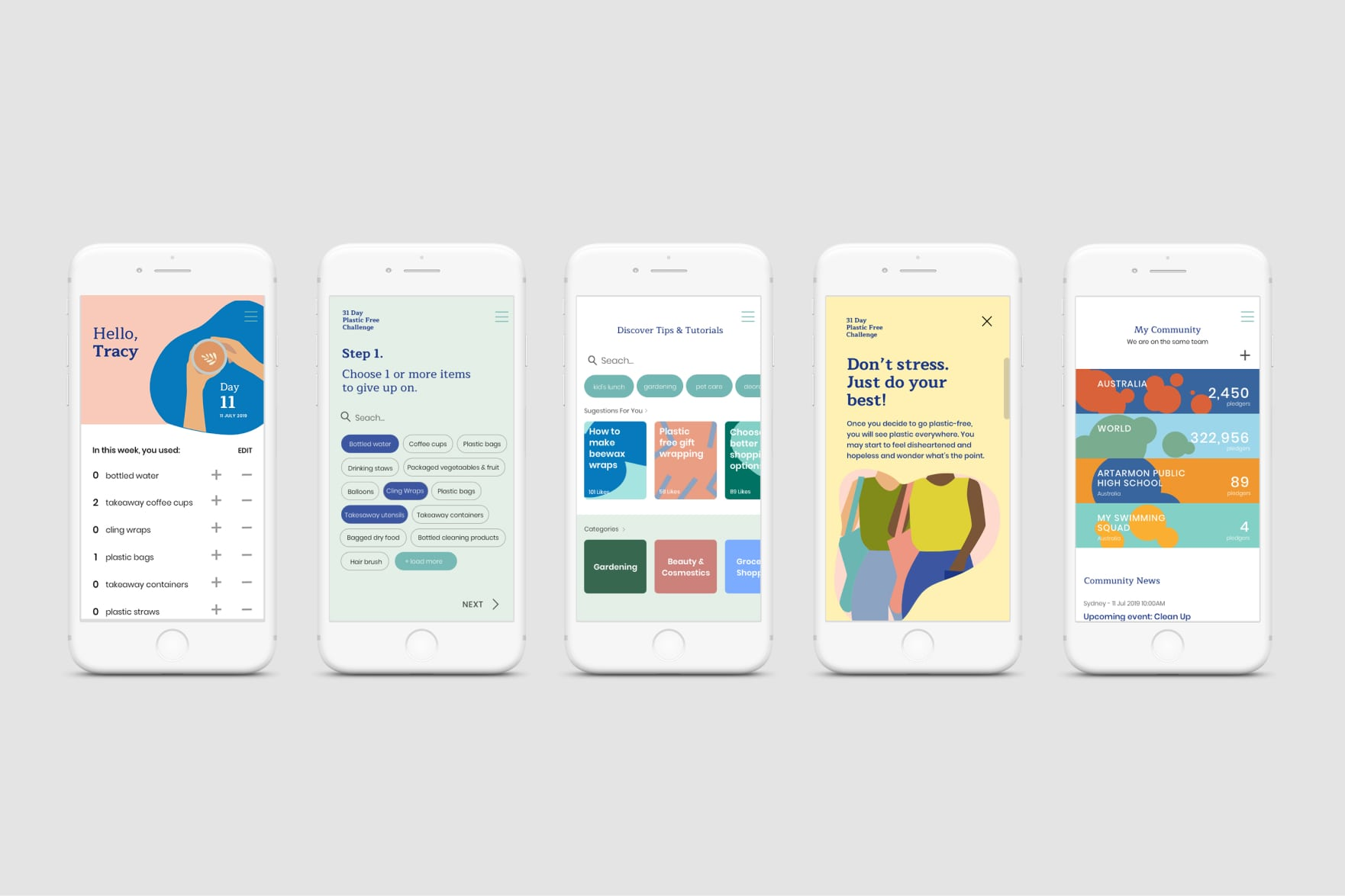 Plastic Free July mobile app design