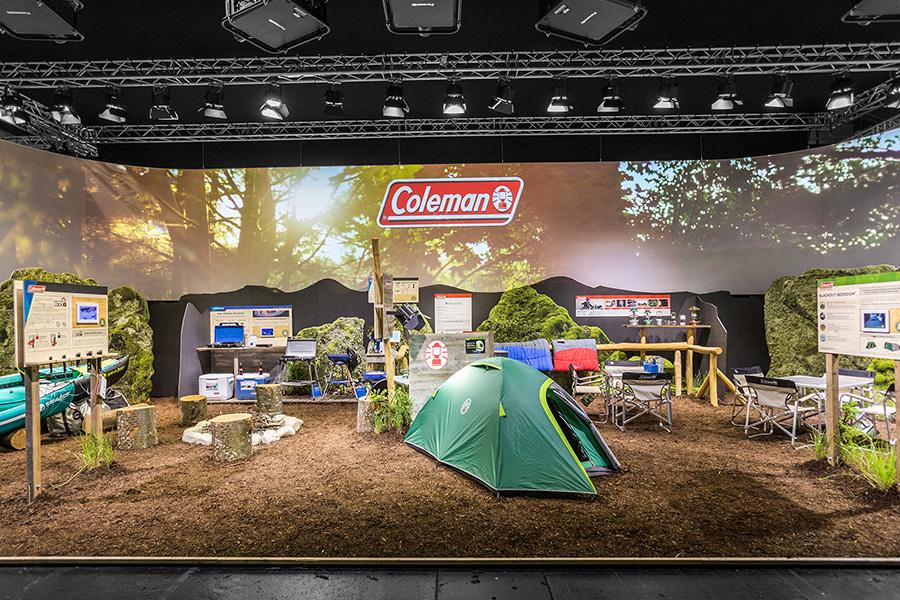 Coleman outdoor camping Messestand trade fair booth Messe Ausstellung Shop Retail Kongress München design trade fair booth