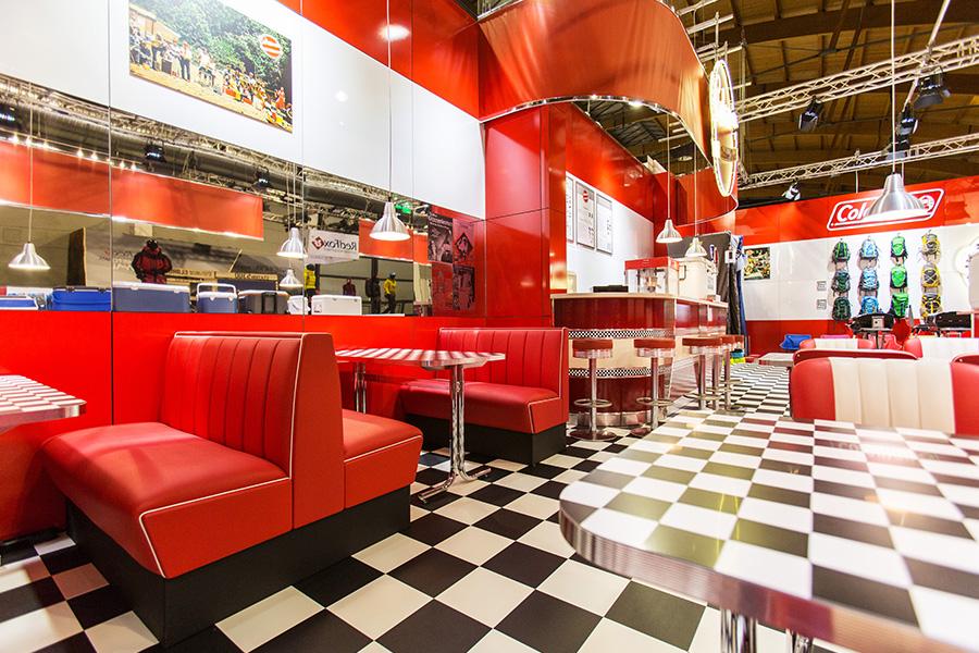 coleman campingaz diner style usa Messestand trade fair booth Messe Ausstellung Shop Retail Kongress München design trade fair booth
