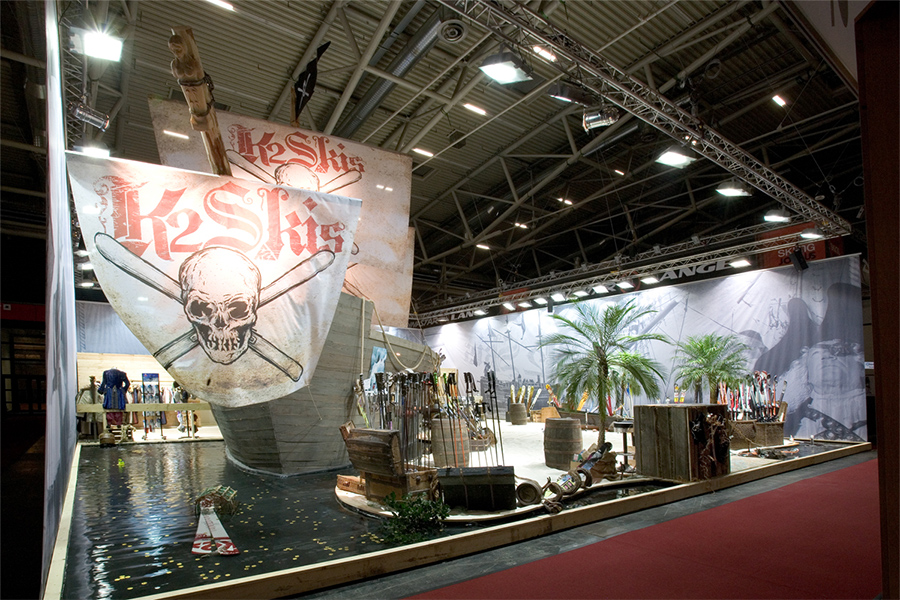 K2 Piratenschiff Messestand trade fair booth Messe Ausstellung Shop Retail Kongress München design trade fair booth