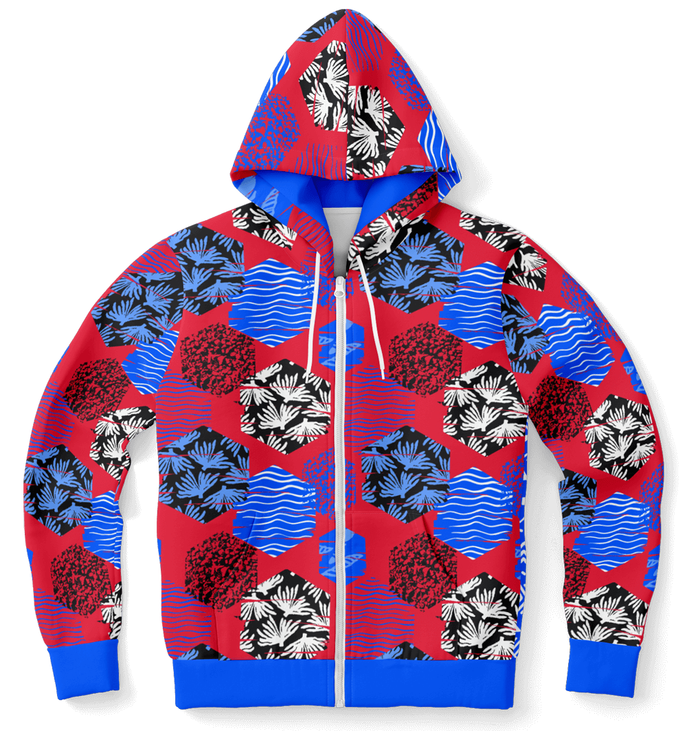Fashion Zip-Up Hoodie - AOP