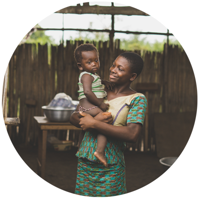 African woman holding a child