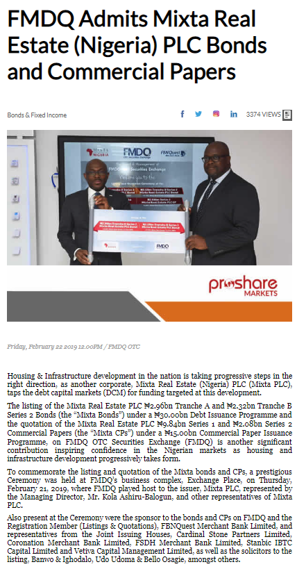 FMDQ Admits Mixta Real Estate (Nigeria) PLC Bonds and Commercial Papers