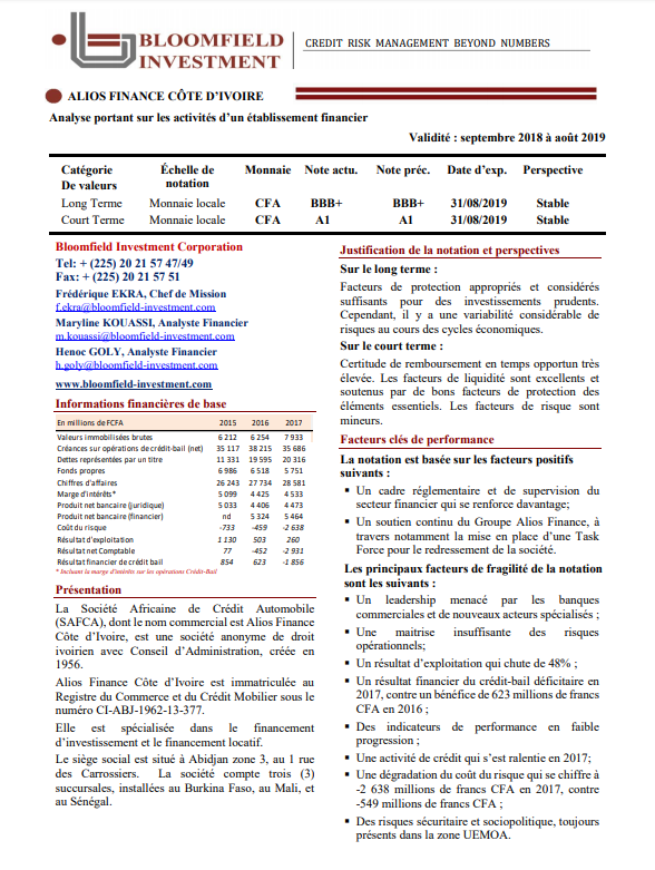 "Alios Cote d'Ivoire's long-term rating ""BBB +"" affirmed by Bloomfield"