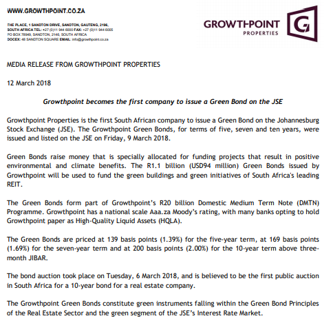 Growthpoint becomes the first company to issue a Green Bond on the JSE