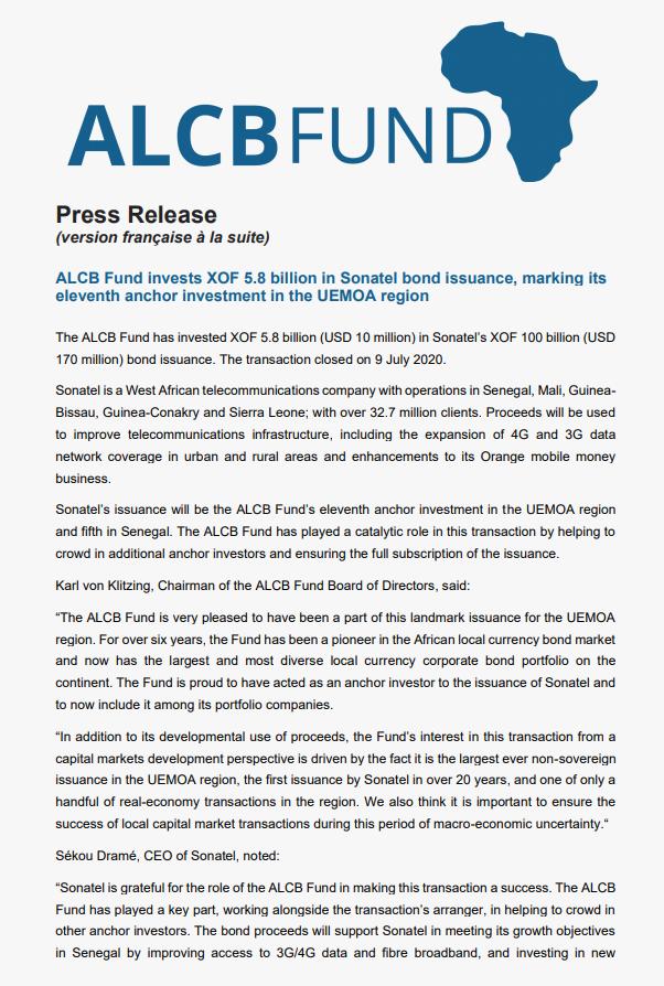 Press Release: Sonatel