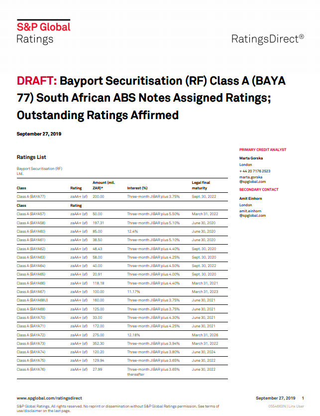 S&P assigns long-term 'za AA+ (sf)' rating to Bayport Securitisation class A BAYA77 notes